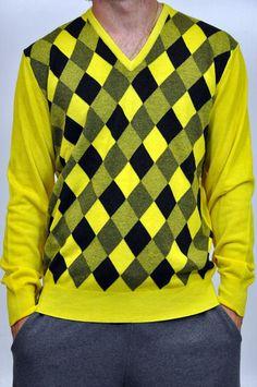 Maglia Kangra a rombi in nero e giallo