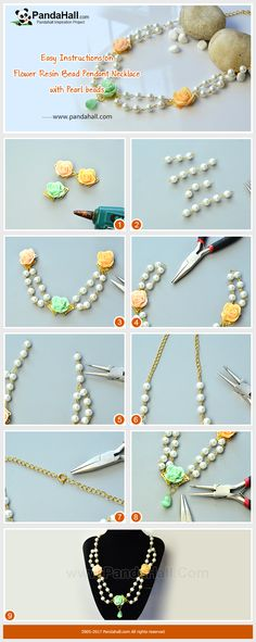 How to DIY Flower Resin Bead Pendant Necklace with Pearl beads The necklace is mainly made of pearl glass beads, cat eye beads and resin cabochons. The making method is to thread the pearl glass beads into chains and then connect them with the flower cabochons, and then a piece of delicate necklace is made. It is a good choice for wedding parties!