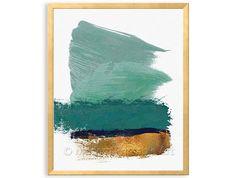 Teal Green Gold Abstract PRINTABLE Wal Art, Teal Green, Faux Gold Foil, Teal Green, Turquoise Abstract Brushstroke Art