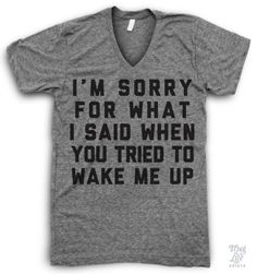 I'm sorry for what I said when you tired to wake me up!