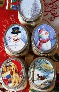 Old christmas cards jar lids, then add cookies to jar and give to teacher, neighbors as christmas gifts.