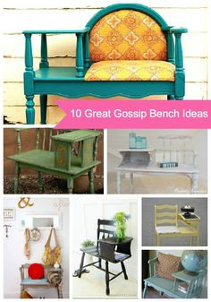 Gossip Bench Classic Makeover ~Themed Furniture Makeover - New ideas Refurbished Furniture, Repurposed Furniture, Furniture Makeover, Cool Furniture, Painted Furniture, Diy Projects To Try, Home Projects, Gossip Bench, Diy Casa