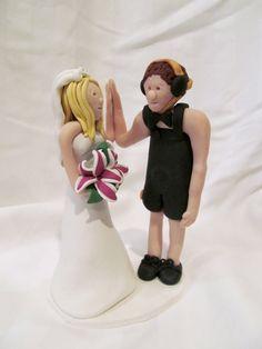 Wrestling Hand Sculpted Custom Wedding Cake Topper