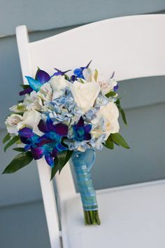 Flowers, Bouquet, White, Blue, Beach, Orchid, Sea,