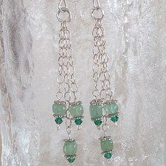 Earrings  Green Quartz stone and Swarovski by wiredroxz on Etsy
