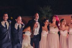 The bridal party on the dance floor.  Las Vegas Wedding Planner Andrea Eppolito  |  Wedding at Lake Las Vegas  | White and Blush and Grey Wedding | Luxury Wedding Las Vegas