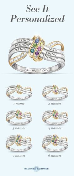 A family's love is forever! Honor them all with this name-engraved family birthstone ring - a unique personalized gift only from The Bradford Exchange. Don't forget that we offer the best guarantee in the business, with jewelry returns up to 120 days and free return shipping. Order this custom ring today! Mother Rings, Mothers Day Rings, Bradford Exchange, Mothers Day Crafts, Gifts For Mom, Mother Day Gifts, Creative Gifts, Ring Bracelet, Jewelry Bracelets