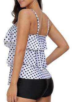 Open Back Polka Dot Print Layered Tankini Set Plus Size Swimsuits, Cute Swimsuits, Polka Dot Print, Polka Dots, Vintage Swimsuits, Curvy Plus Size, Beachwear, Cute Outfits, Fashion Outfits