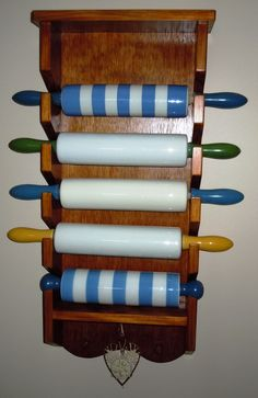 Rolling Pin Rack to showcase my precious TG Green Rolling Pins. Hand made for me by my Father In Law Rolling Pin Display, Kitchen Ware, Kitchen Canisters, Kitchen Stuff, Cornishware, English Kitchens, Plate Racks, Pin Art, Displaying Collections