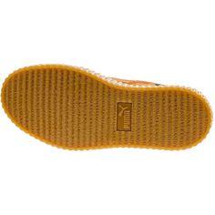 Rihanna x PUMA Suede Creeper Orange Camo Release Date - SBD ❤ liked on Polyvore featuring shoes, camo print shoes, puma footwear, camouflage shoes, puma shoes and camo shoes