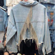 LANMREM 2020 Spring New Casual Fashion Temperament Women Coat Loose Plus Inlaid Rhinestone Tassel Back Split Denim Jacket New Casual Fashion, Denim Fashion, Coats For Women, Clothes For Women, Denim Coat, Mode Hijab, Diy Clothing, Casual Fall, Ideias Fashion