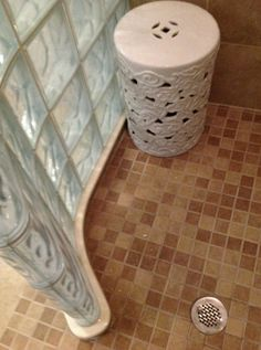 Concrete Bathroom, Glass Bathroom, Transitional Bathroom, Transitional Decor, Steam Shower Units, Glass Blocks Wall, Block Wall, Glass Block Shower, Small Bathroom With Shower