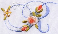 Amazing Embroidery Designs  R with roses