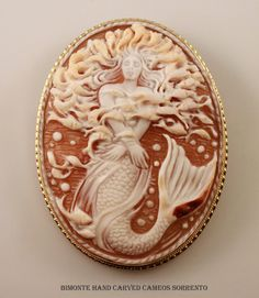 """La Sirena Cameo by """"Bimonte"""" the oldest cameos  coral workshop in Sorrento, Italy."""