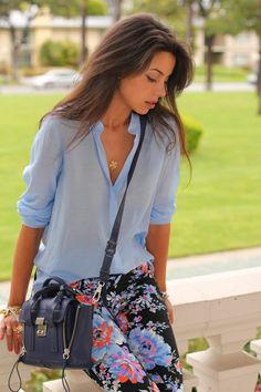Pastel blue, floral print jeans.