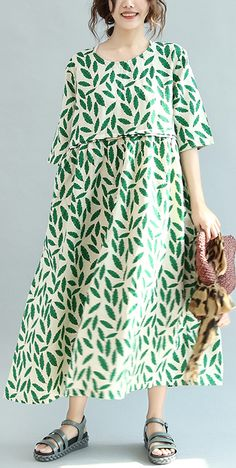 green print linen caftans clothing pleated caftans women o neck maxi dresses