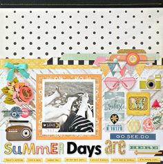 My Bits of Sunshine: Crate Paper Summer Grid Layout by Stephanie Buice--I just love the negative space in this layout