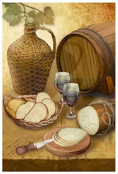 wine and bread table. Wine Painting, Fabric Painting, Painting On Wood, Wine Glass Drawing, Vine Tattoos, Baroque Painting, Decoupage Printables, Wine Art, Tuscan Decorating