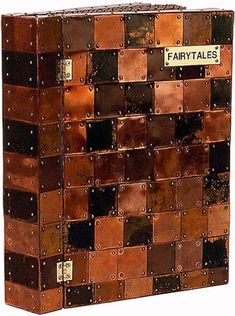 """Fairytales Artist book by Peter Madden. 14"""" x15"""",COVER: Copper, Wood PAGES: Mixed Media"""