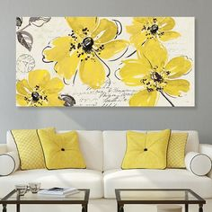 A must-have for your home, this Artissimo Designs Windy Yellow canvas wall art features a whimsical flower design that you're sure to adore. Canvas Painting Designs, Diy Painting, Flower Painting Canvas, Yellow Wall Art, Yellow Painting, Cheap Wall Art, Canvas Wall Art, Hand Painted Canvas, Flower Art