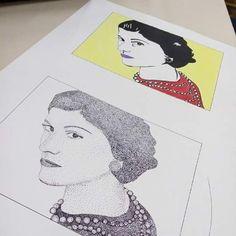 Ilustração da Chanel em pontilhismo e lápis de cor