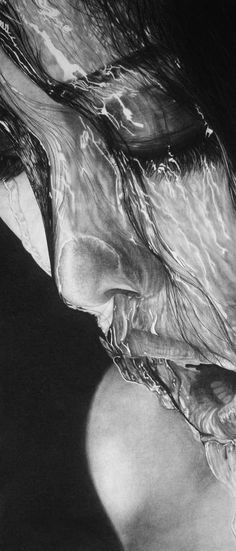 Water on Face, charcoal on paper by 17 year old Daisy (amazing)