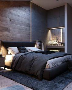Inspirations Mens Bedroom Ideas - All Bedroom Design Men's Bedroom Design, Modern Bedroom Decor, Modern Mens Bedroom, Men Bedroom, Man Bedroom Decor, Loft Style Bedroom, Industrial Bedroom Design, Bedroom Rustic, Trendy Bedroom