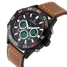 NAVIFORCE Original Genuine Leather Digital LED Multifunction Waterproof Sport Men Watch 9043 Light brown ** Continue to the product at the image link.Note:It is affiliate link to Amazon.
