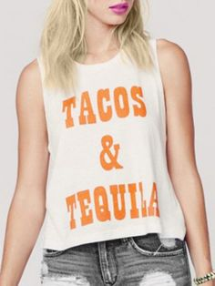 tacos and tequila| $11.85  grunge hipster street fashion street style fachin tank top top under20 under30 rosegal free shipping
