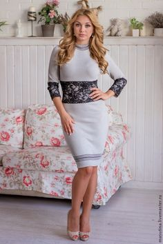 """Купить Платье """"Pearl"""" - серый, вязаное платье, серое платье, теплое платье, платье с кружевом"""