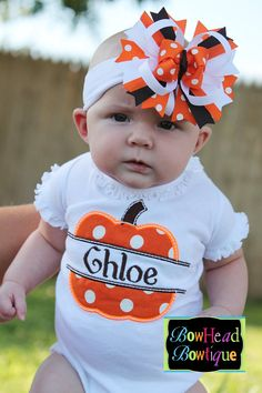 Personalized Orange Polka Dot Pumpkin - White Fitted Shirt or Onesie and Matching Hair Bow for Baby and Toddler Girl for Fall and Halloween on Etsy, $30.00