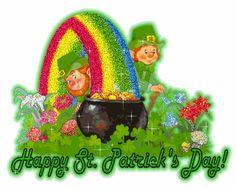 Happy St. Patrick's Day glitter rainbow gif comment leprechaun irish greeting elf st patricks day pot of gold