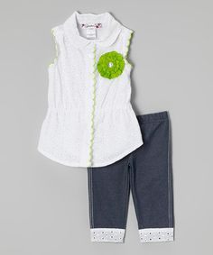 White Eyelet Button-Up Tunic & Black Capri Leggings - Girls by Speechless #zulily #zulilyfinds