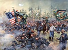 """"""" Brothers of Ireland"""" The Irish Brigade lead by General Meagher (in his green velvet suit) rushes to relieve the 9th Massachusetts (Irish) at the battle of Gaine's Mill. The Irish brigade had removed their coats because of the heat and fought in their shirt sleeves."""