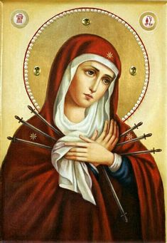Mary Jesus Mother, Blessed Mother Mary, Mary And Jesus, Religious Images, Religious Art, Archangel Raphael, Raphael Angel, Greek Icons, Our Lady Of Sorrows