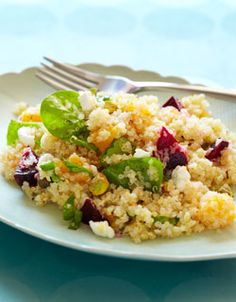 quinoa salad with beets, oranges, and goat cheese. (i would remove the goat cheese, obvi)