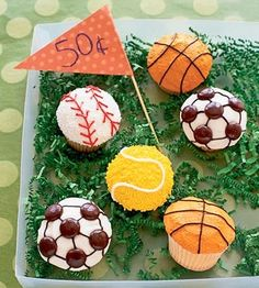 <p>Have your cupcake and eat it too! These sporty snacks will make any day brighter.</p>                 <p><b>Directions:</b><br> Start with a batch of homemade or store-bought cupcakes and a 16 oz. can of vanilla frosting.</p>                 <p><b>Soccer:</b> Decorate 24 cupcakes using vanilla
