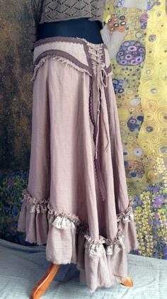 Long asymmetrical brown skirt with ruffle boho by MoonTreeProject, €80.00