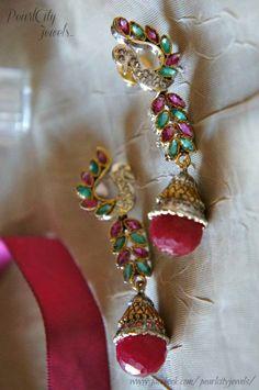 Beautiful Peacock earrings American Diamond and Ruby Earrings | PearlCity Jewels | Victorian Earrings | Peacock earrings | Indian earrings | Jhumki | Finger rings | Bracelets