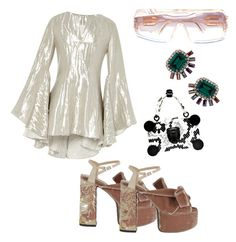 """Saturday night fever!"" by marcelolueiro on Polyvore featuring Rosie Assoulin, N°21, Cazal, Elizabeth Cole, women's clothing, women's fashion, women, female, woman and misses"