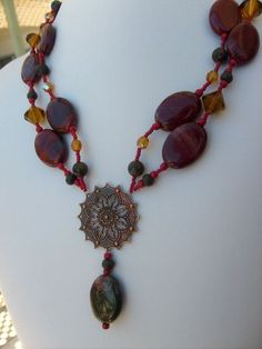 Red Jasper Chunky Statement Beaded Necklace With Labradorite and Brass | Drunkenmimes - Jewelry on ArtFire