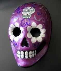 Violet Purple Skull Sugar Art Mexican Wall Hanging...