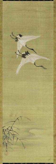 Cranes on the Wing      Sokaku zu     双鶴図      Japanese, Edo Period, first half of the 18th century     Kano Norinobu, Japanese, 1730–1790
