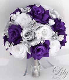 17 Piece Package Bridal Bouquet Wedding Bouquets Silk Flowers
