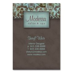 Damask Salon Spa Appointment Card Blue Brown Business Card Template. Make your own business card with this great design. All you need is to add your info to this template. Click the image to try it out!