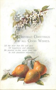 BIRTHDAY GREETINGS AND ALL GOOD WISHES  pears & blossom