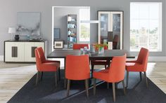 Bentley Designs City Weathered Oak And Soft Grey Dining Set 6 Seater Panel Table With Burnt Orange Taper Back Chairs Online Cfs Uk