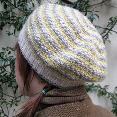 Wesley.  A beret knit in a deceptively easy slipped stitch pattern in three colors {free download}.