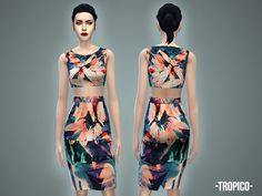 Tropico skirt & crop top by April at TSR via Sims 4 Updates
