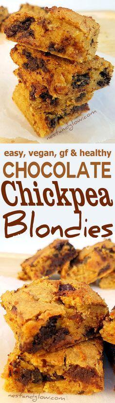 Chocolate Chip Almond Chickpea Blondies easy vegan, gluten, healthy recipe via @nestandglow